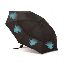 Telescopic umbrella with vented canopy