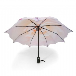 Popular automatic 3 sections umbrella with cured edge