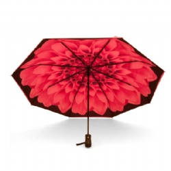 Pink double canopy auto compact/folding umbrella
