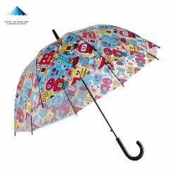 Bubble dome shape clear transparent rain umbrella with full printing