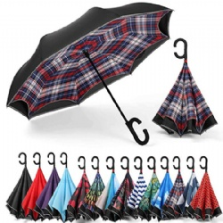 Double Layer Inside Out Reverse Inverted Windproof Umbrella Upside Down Umbrellas with C-Shaped Handle